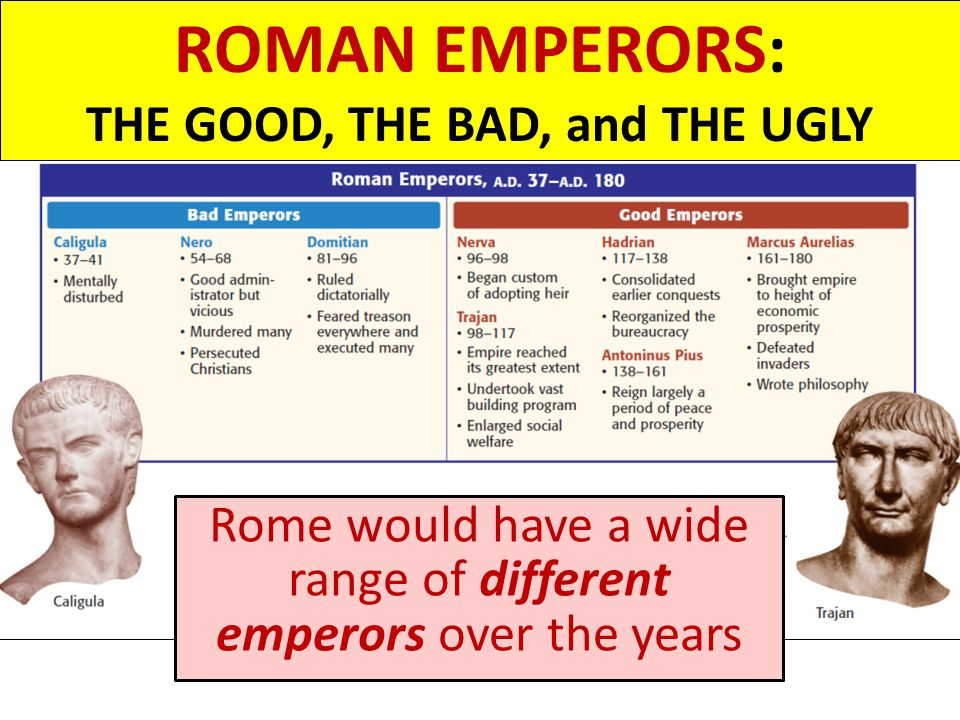 ROMAN EMPERORS: THE GOOD, THE BAD, and THE UGLY