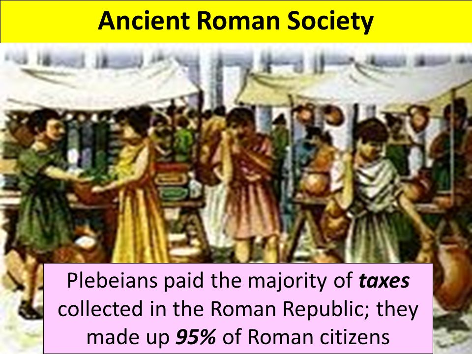Ancient Roman Society Plebeians paid the majority of taxes collected in the Roman Republic; they made up 95% of Roman citizens.