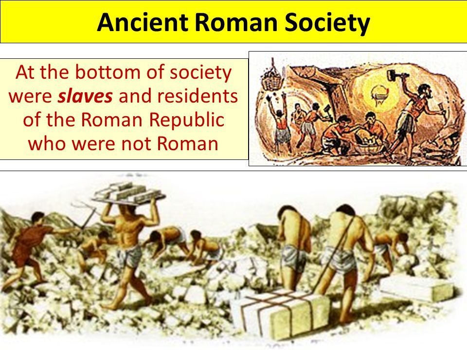 Ancient Roman Society At the bottom of society were slaves and residents of the Roman Republic who were not Roman.
