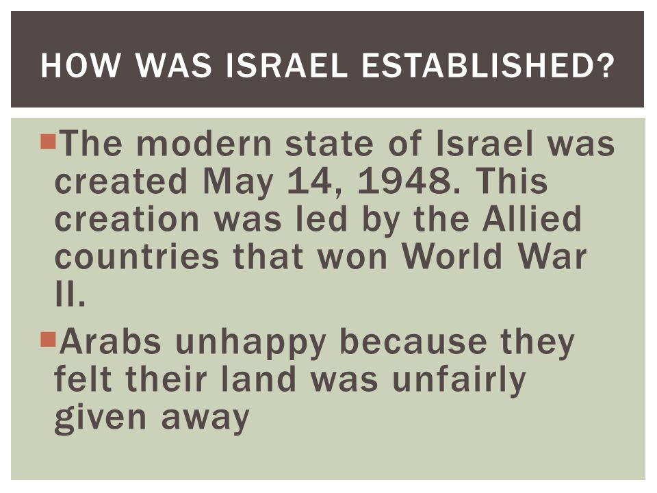 How was Israel established