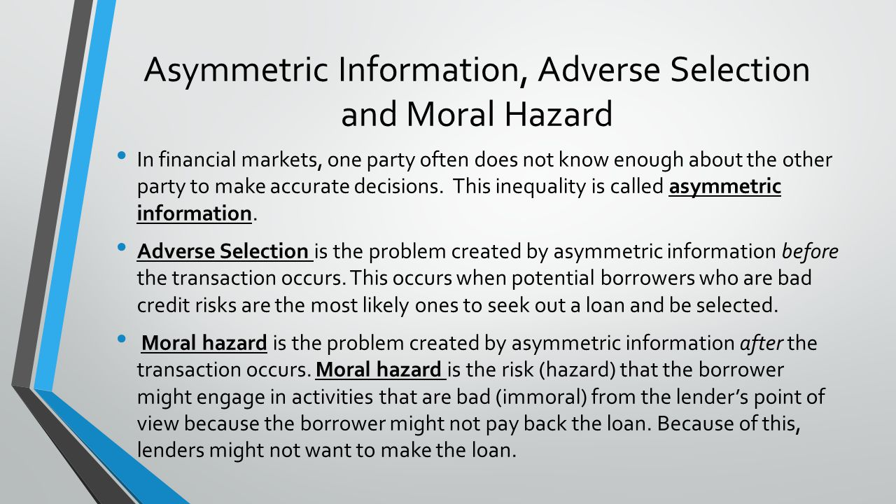 Asymmetric Information, Adverse Selection and Moral Hazard