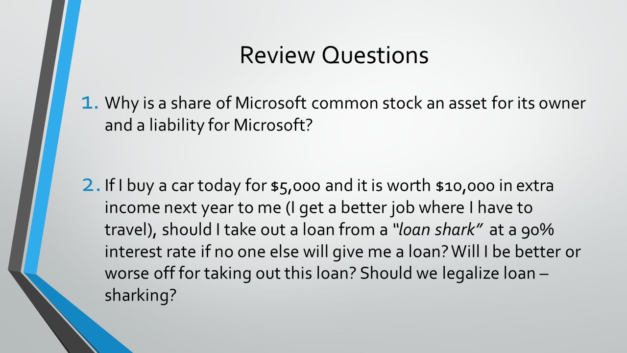 Review Questions Why is a share of Microsoft common stock an asset for its owner and a liability for Microsoft