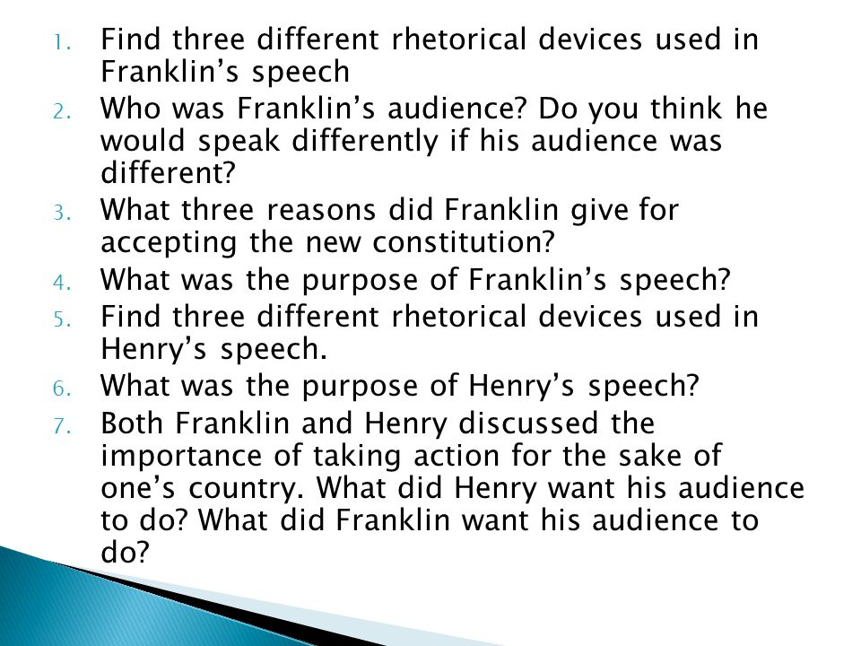 Find three different rhetorical devices used in Franklin's speech