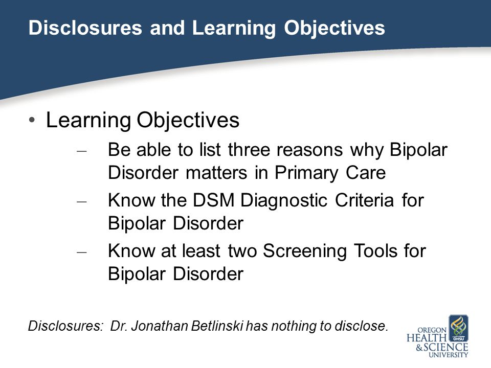 Learning Objectives Disclosures and Learning Objectives