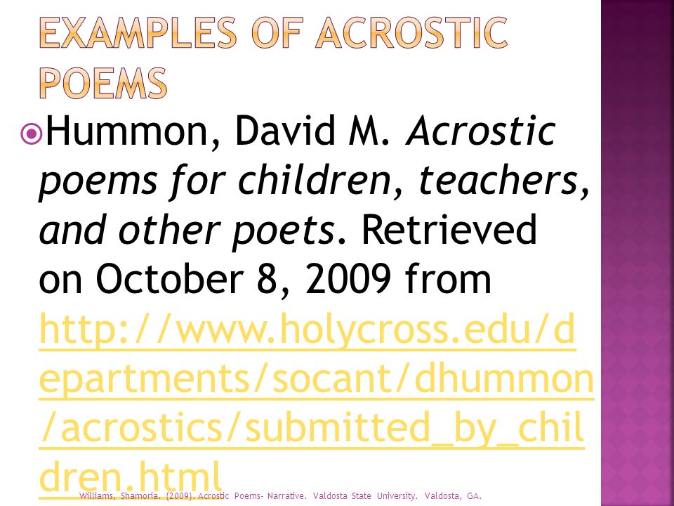Grade Level 3 Specific Form Of Writing Acrostic Poems Ppt Download