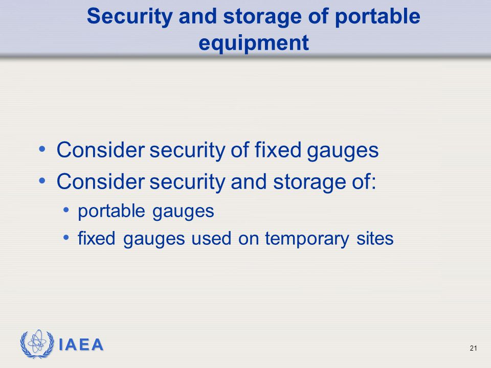 Security and storage of portable equipment
