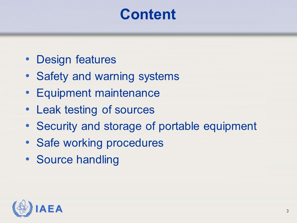 Content Design features Safety and warning systems