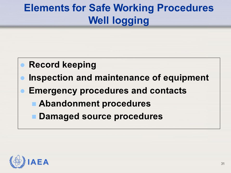 Elements for Safe Working Procedures