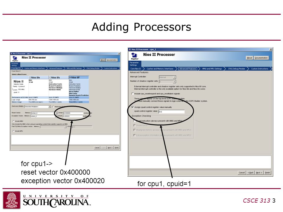 Adding Processors for cpu1-> reset vector 0x400000