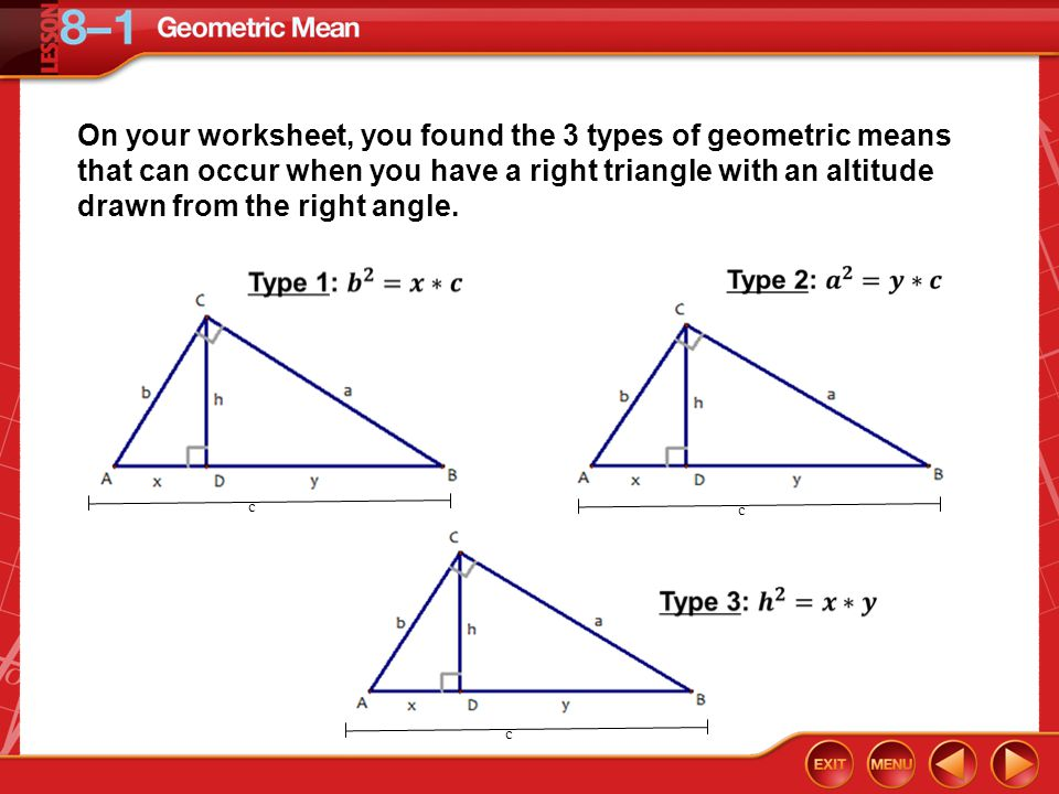 8.1: Geometric Mean Objectives: I will be able to…. - ppt ...