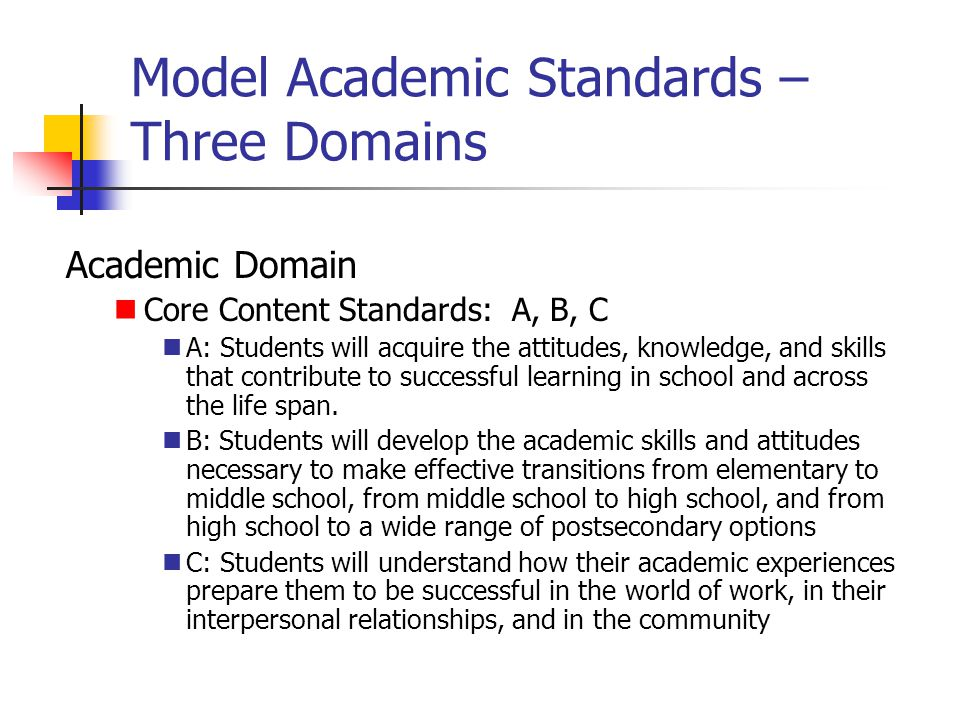 Model Academic Standards – Three Domains