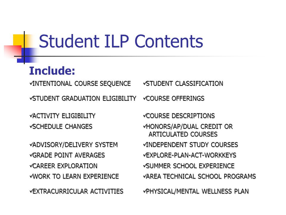 Student ILP Contents Include: INTENTIONAL COURSE SEQUENCE