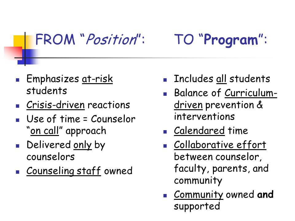 FROM Position : TO Program :