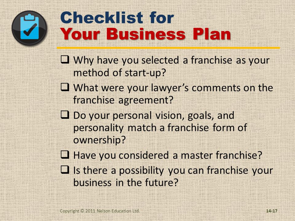 Chapter buying a franchise 14 or franchising your business ppt checklist for your business plan cheaphphosting Images