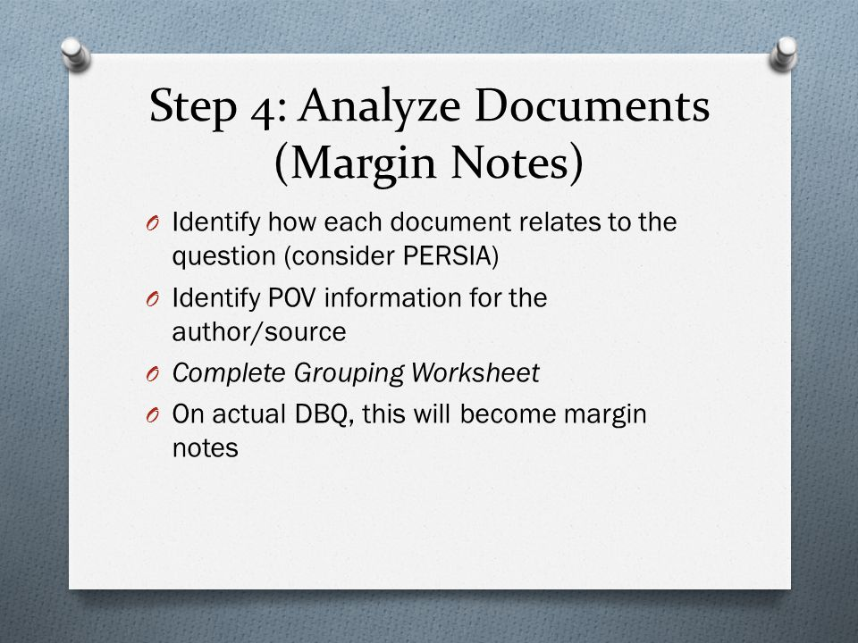 Step 4: Analyze Documents (Margin Notes)