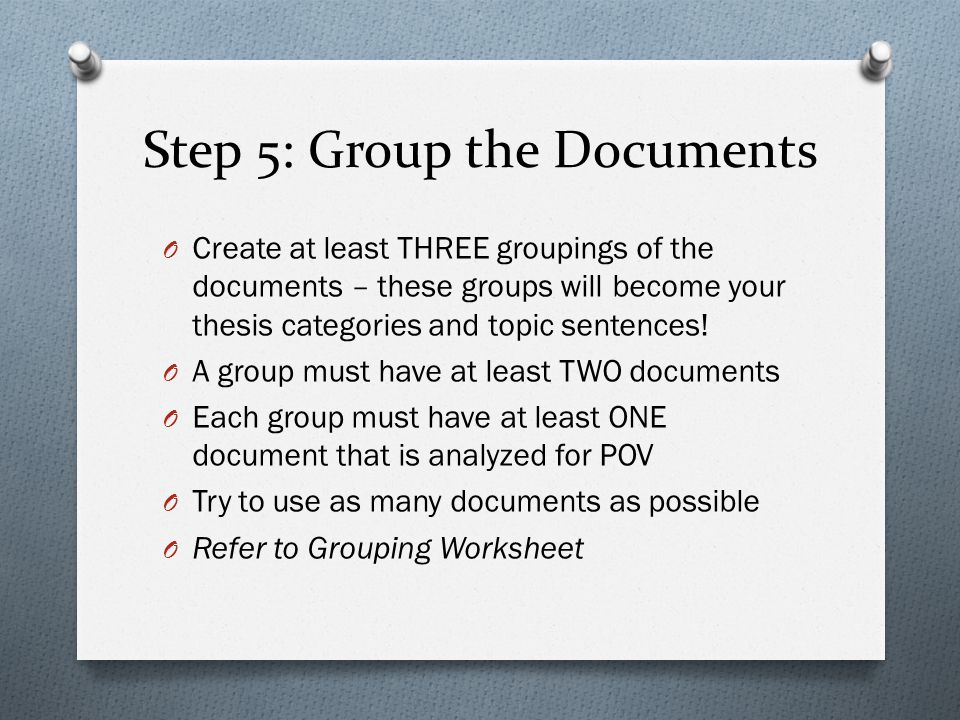 Step 5: Group the Documents