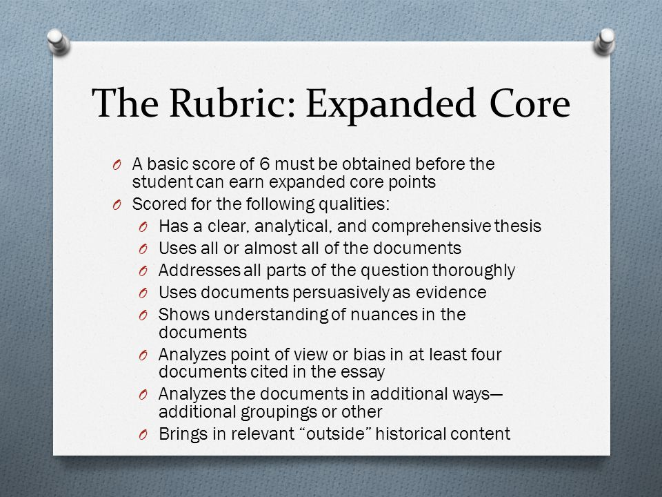 The Rubric: Expanded Core