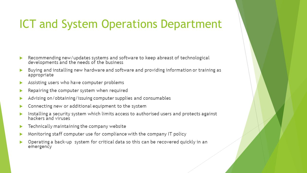 ICT and System Operations Department