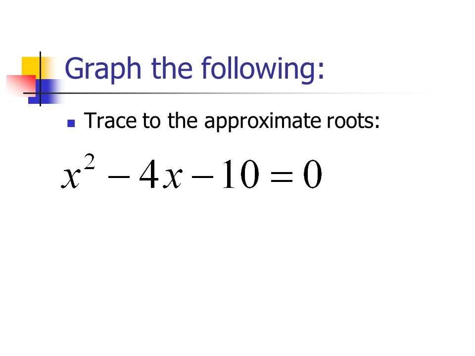 Graph the following: Trace to the approximate roots: