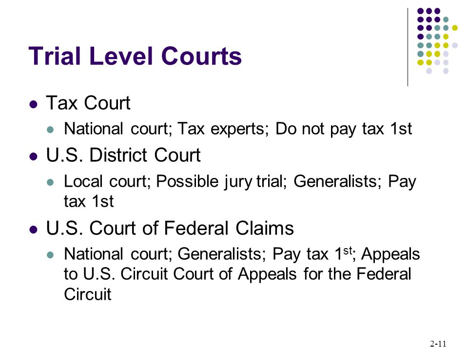 Trial Level Courts Tax Court U.S. District Court