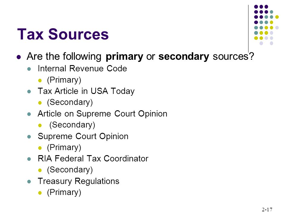Tax Sources Are the following primary or secondary sources