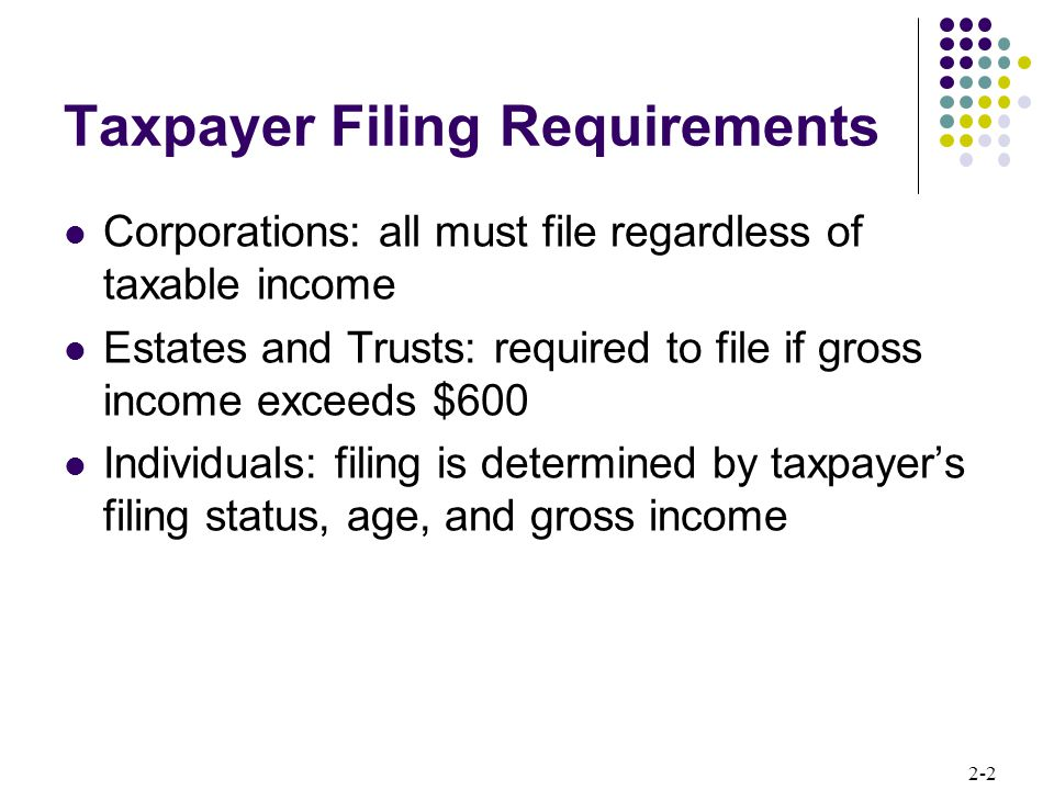 Taxpayer Filing Requirements
