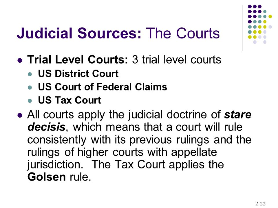 Judicial Sources: The Courts