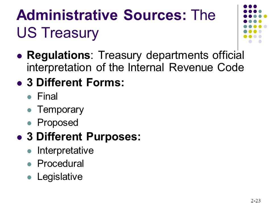 Administrative Sources: The US Treasury