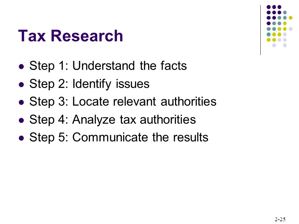 Tax Research Step 1: Understand the facts Step 2: Identify issues