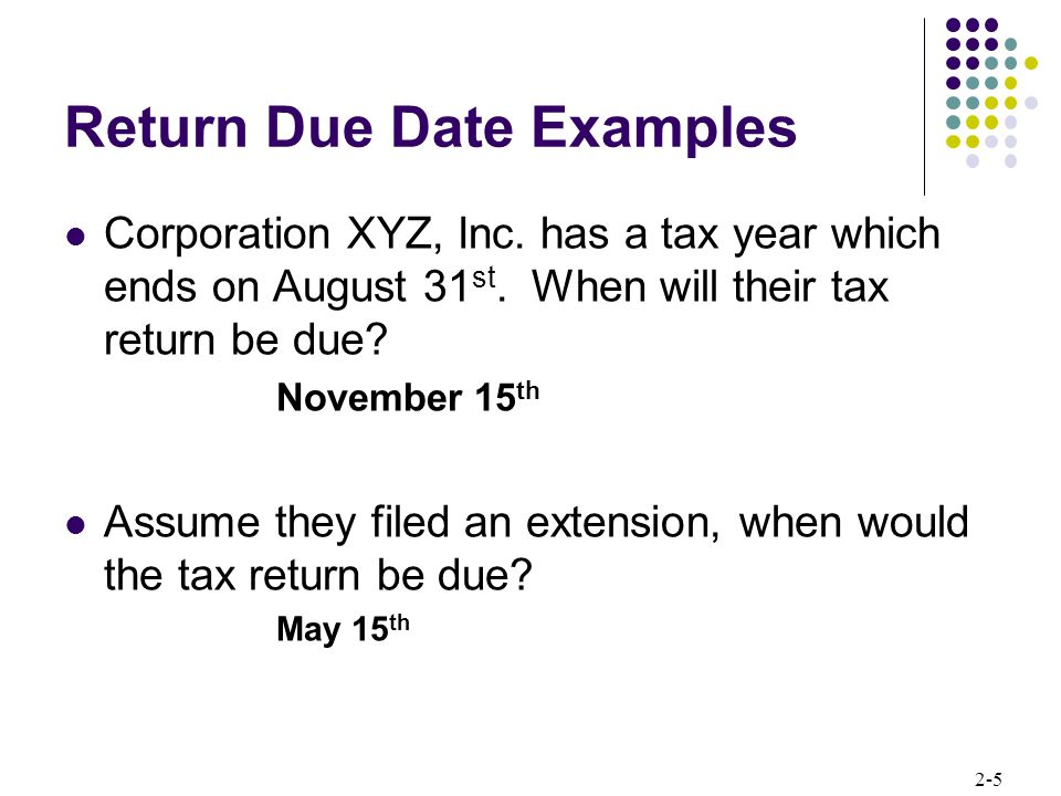 Return Due Date Examples