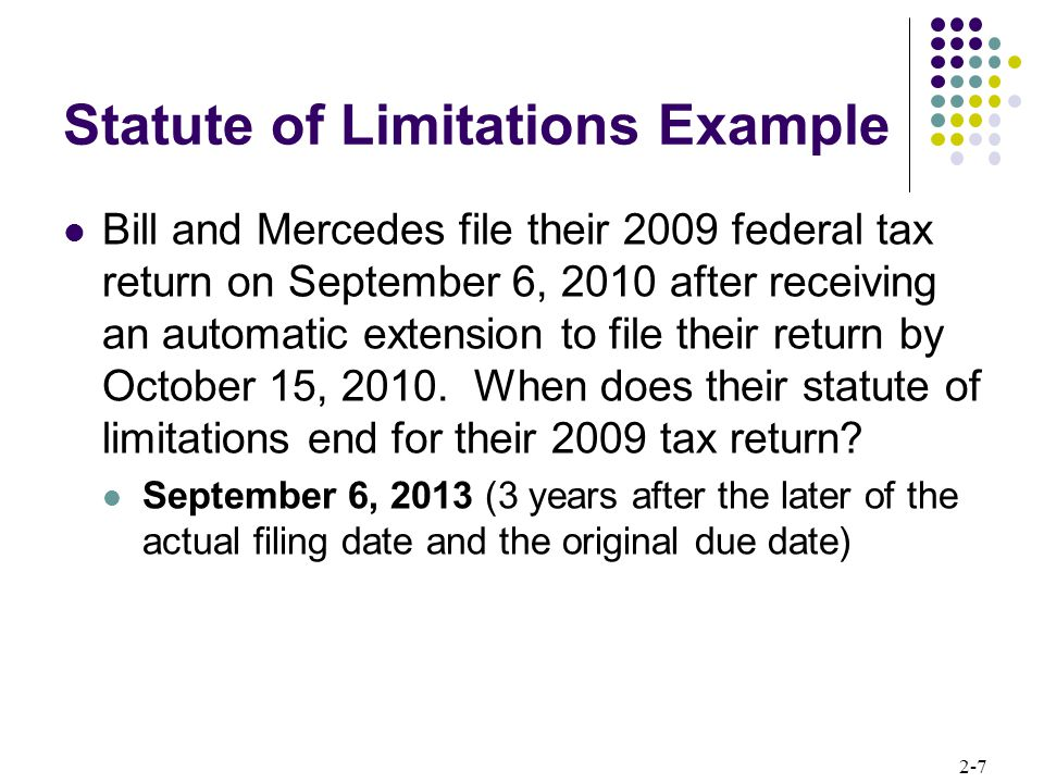 Statute of Limitations Example