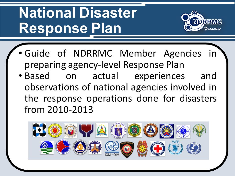 national disaster responce plan 2010 Strategic planning is essentially about finding resources and ensuring that the assemblage of response units, plans, and initiatives is generally going in the right direction, so that it will meet the needs of the population affected by disaster.