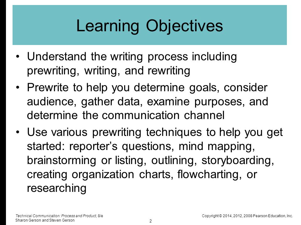 Learning Objectives Understand the writing process including prewriting, writing, and rewriting.