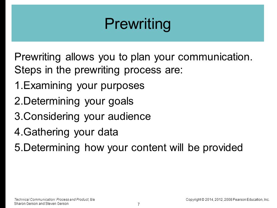 Prewriting Prewriting allows you to plan your communication. Steps in the prewriting process are: Examining your purposes.
