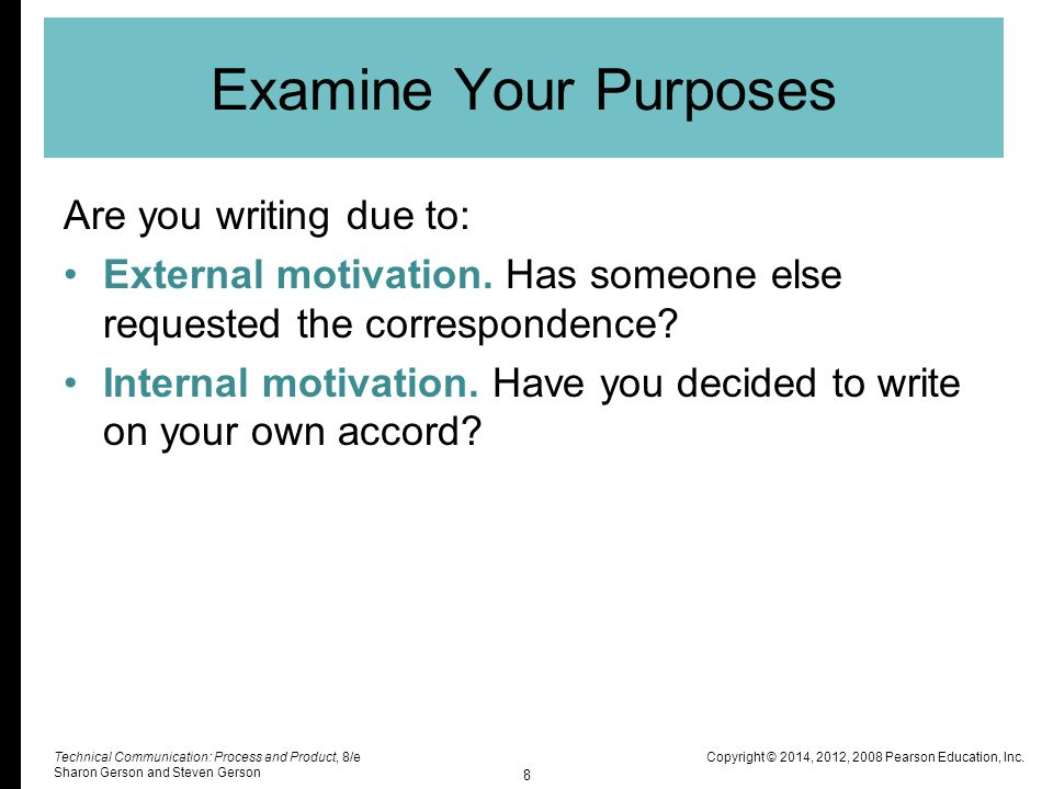 Examine Your Purposes Are you writing due to: