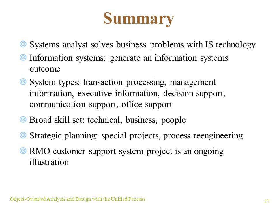 summary systems analyst solves business problems with is technology