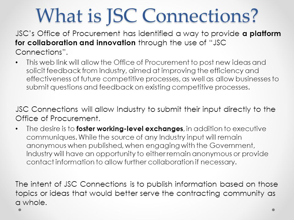 Welcome To The JSC Office Of Procurement S Industry Day