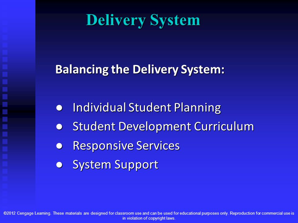 Delivery System Balancing the Delivery System: ● Individual Student Planning ● Student Development Curriculum ● Responsive Services ● System Support