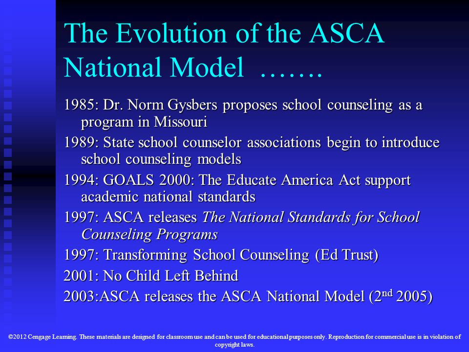 The Evolution of the ASCA National Model …….