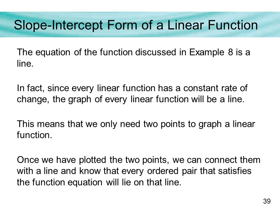 slope intercept form rate of change  Functions with a Constant Rate of Change - ppt download