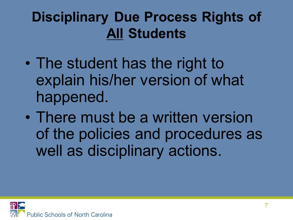 Disciplinary Due Process Rights of All Students