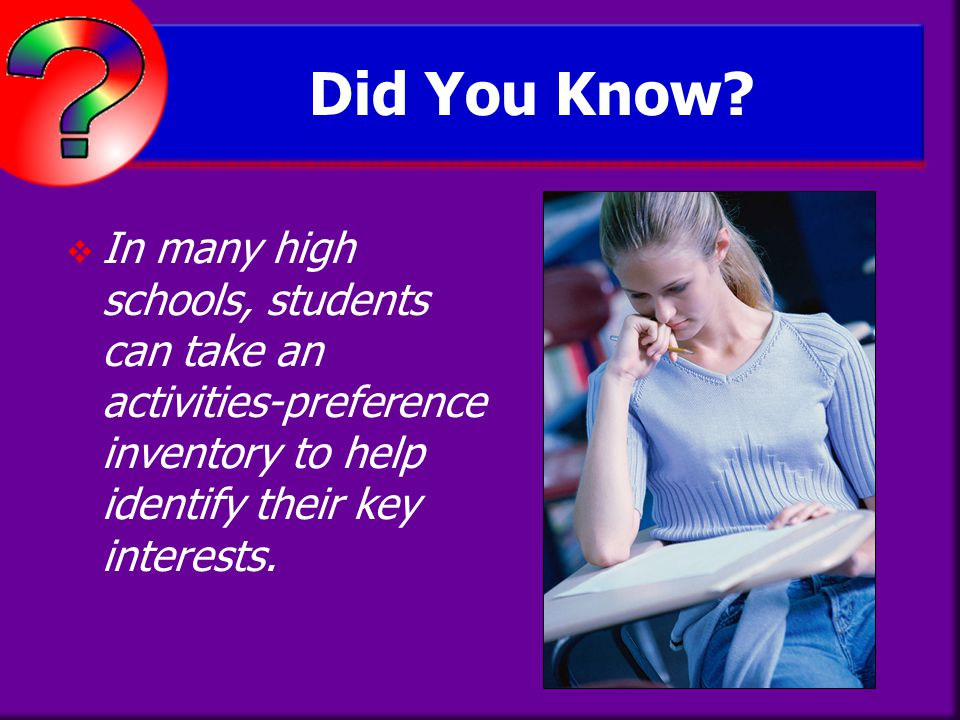 Did You Know In many high schools, students can take an activities-preference inventory to help identify their key interests.