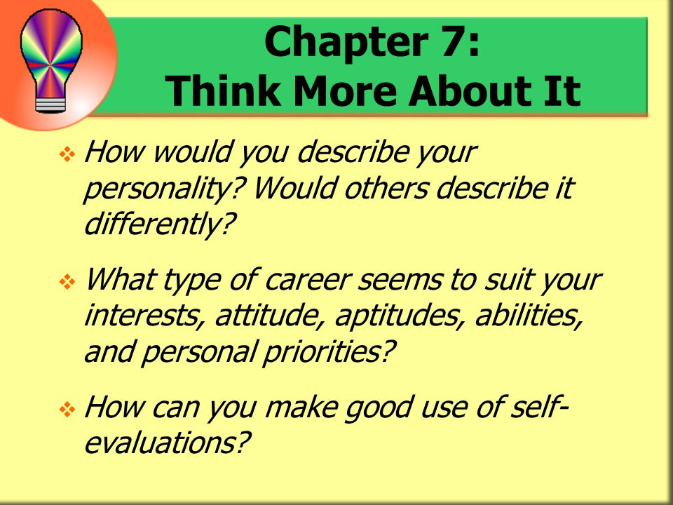 Chapter 7: Think More About It