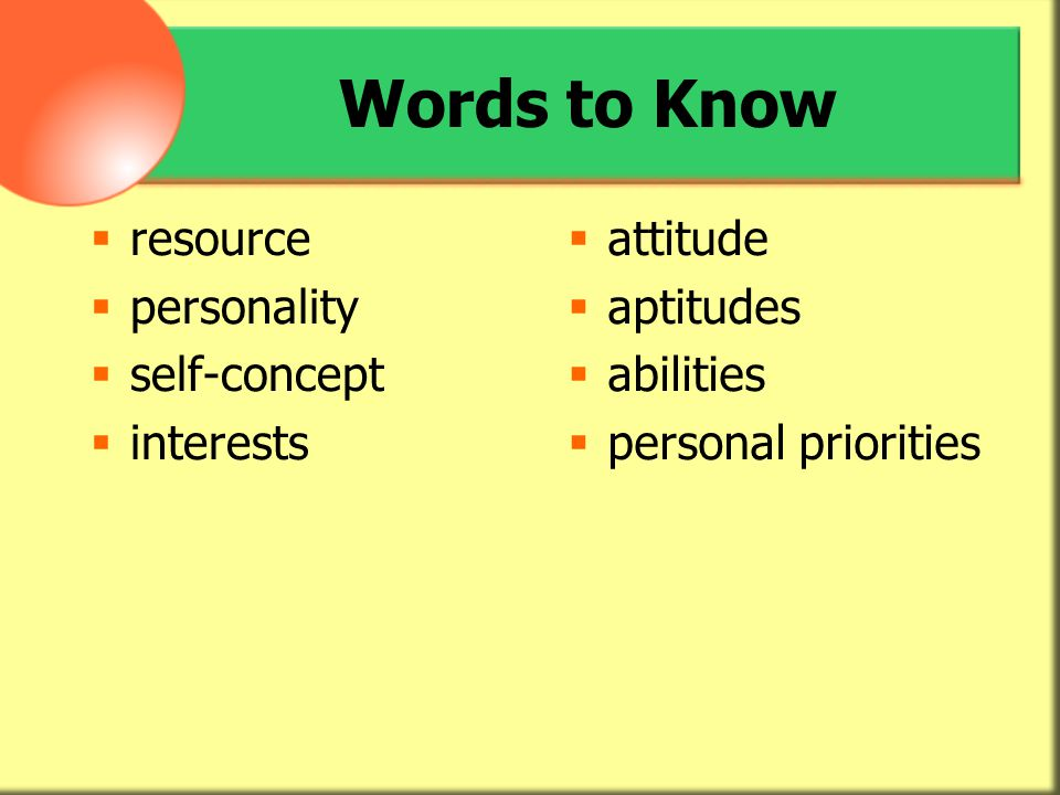 Words to Know resource personality self-concept interests attitude