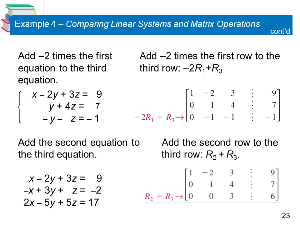 Example 4 – Comparing Linear Systems and Matrix Operations
