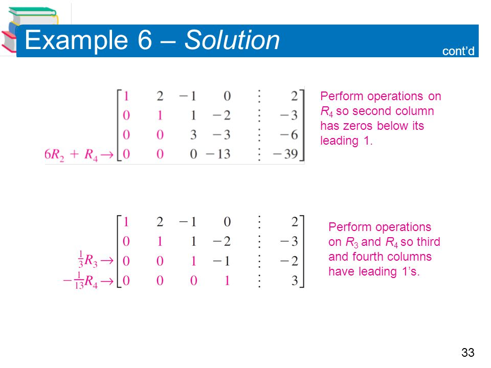 Example 6 – Solution cont'd Perform operations on