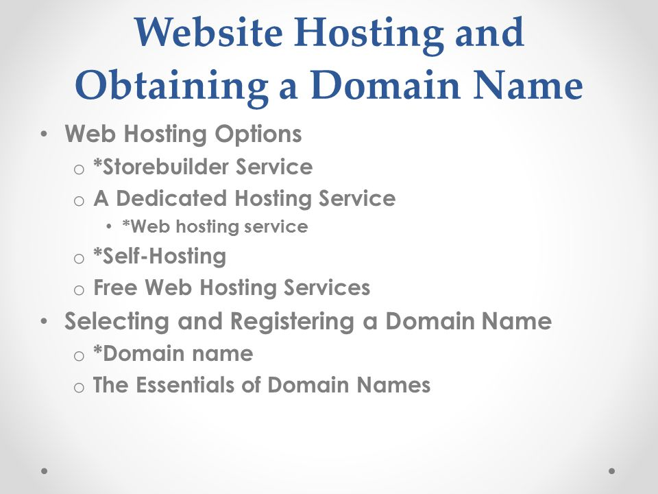 Website Hosting and Obtaining a Domain Name