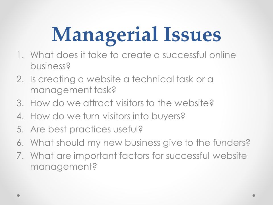 Managerial Issues What does it take to create a successful online business Is creating a website a technical task or a management task