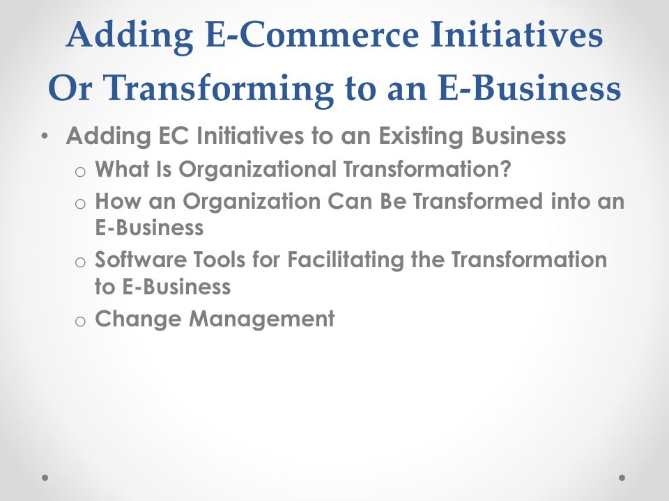 Adding E-Commerce Initiatives Or Transforming to an E-Business