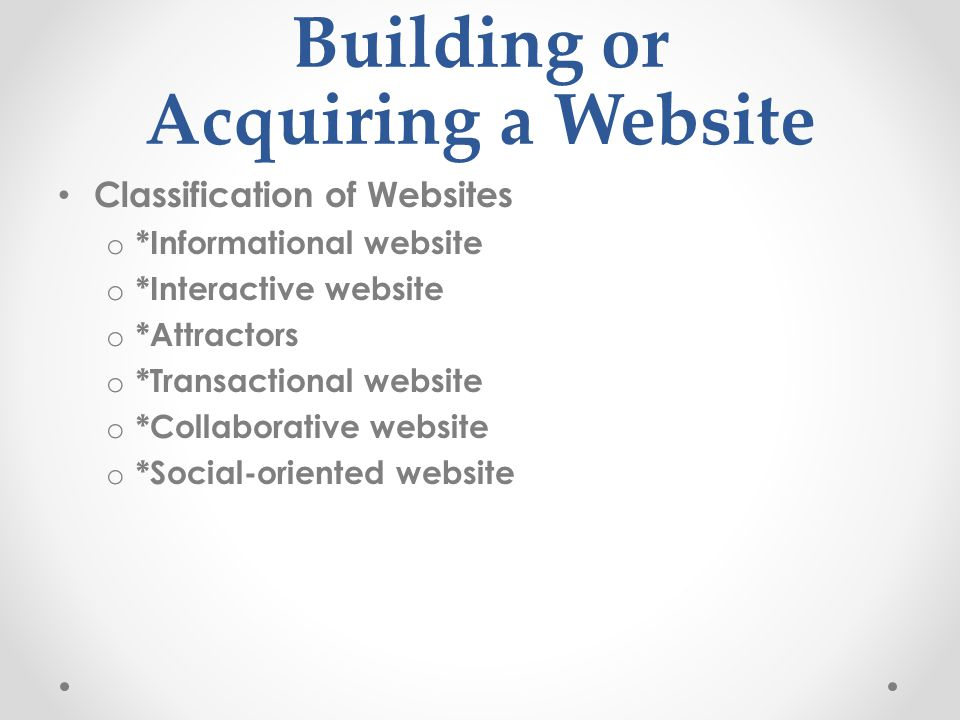 Building or Acquiring a Website